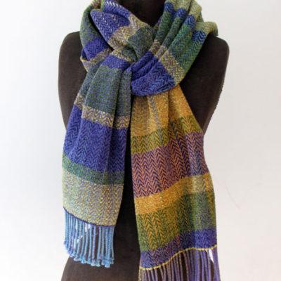 Cotton, Rayon & Chenille Striped Scarf $125