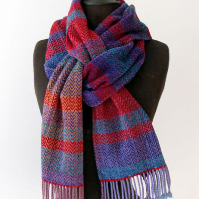 Cotton, Rayon & Chenille Striped Scarf$125