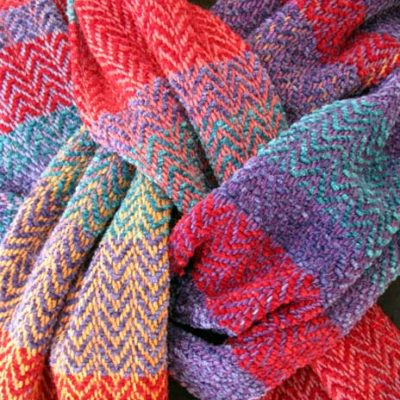 DetailCotton, Rayon & Chenille Striped Scarf