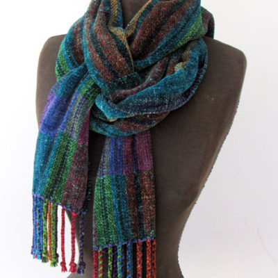 Chenille Striped Scarf Hand dyed and woven with plied fringe $115