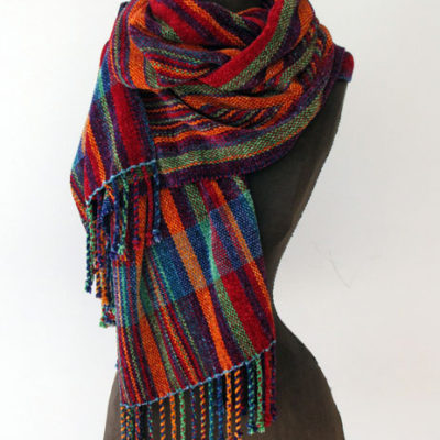 Chenille Striped  Wrap  Hand dyed and woven with plied fringe    $195