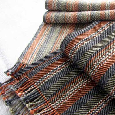 Men's Silk Scarf   Hand dyed warp with Alpaca or Merino weft  $155