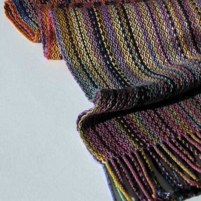 Silk Striped Scarf   Hand dyed and woven  $145