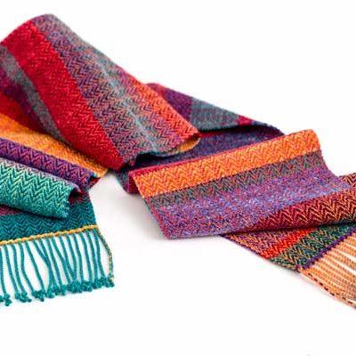 Cotton, Rayon & Rayon Chenille Striped Scarf    $125